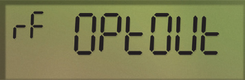 A close up of an AMI electricity meter screen. There are small digital letters on the top left that reads rF. The larger letters say OPtOUt.  (15-026_02_1)