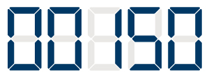 An illustrated digital display showing the numbers 00150 (18-150.3)